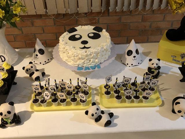 Bolo Panda Decorado com Chantilly
